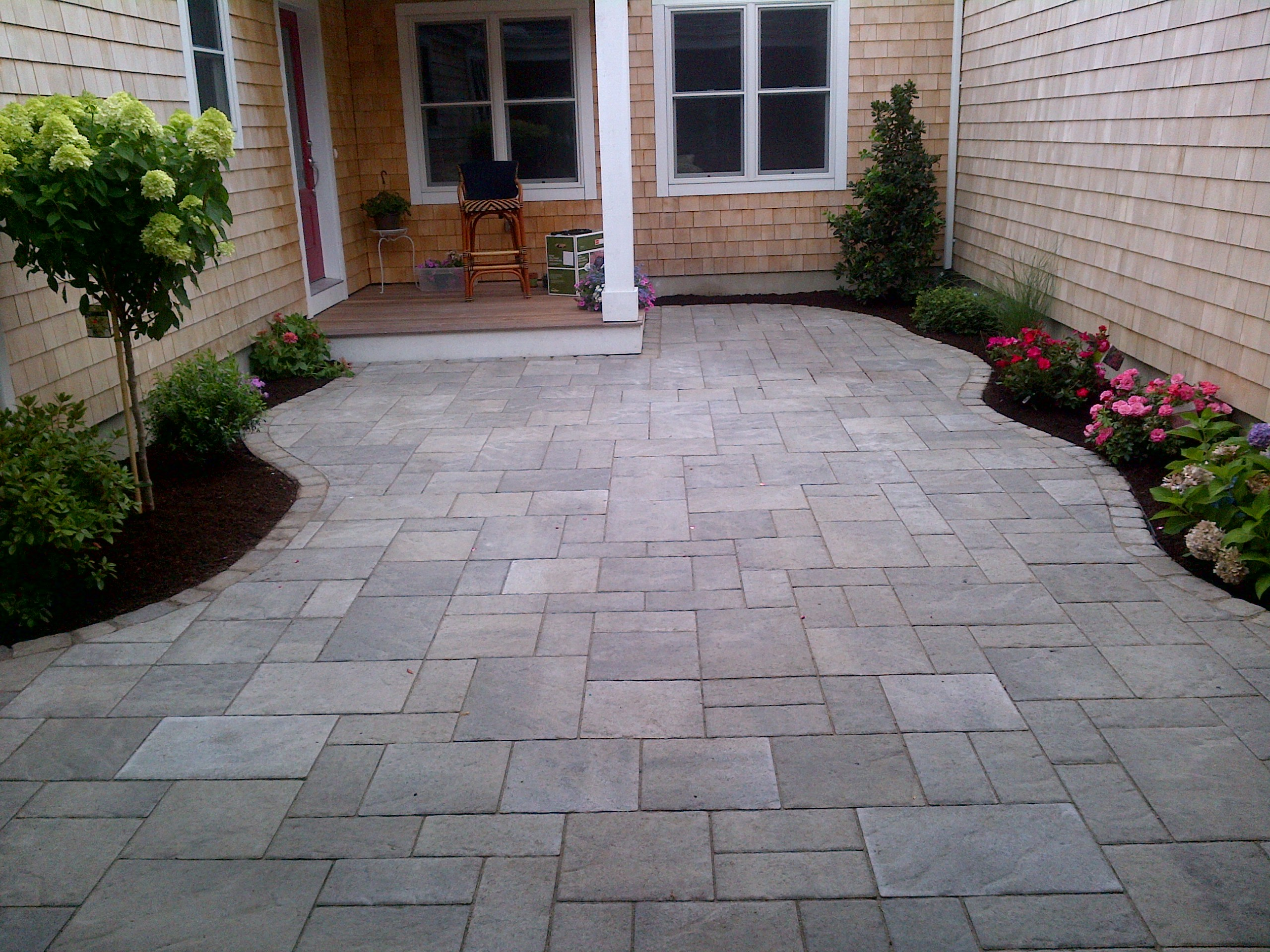 Curved Techo Bloc Walkway With Plants 3 - Plymouth