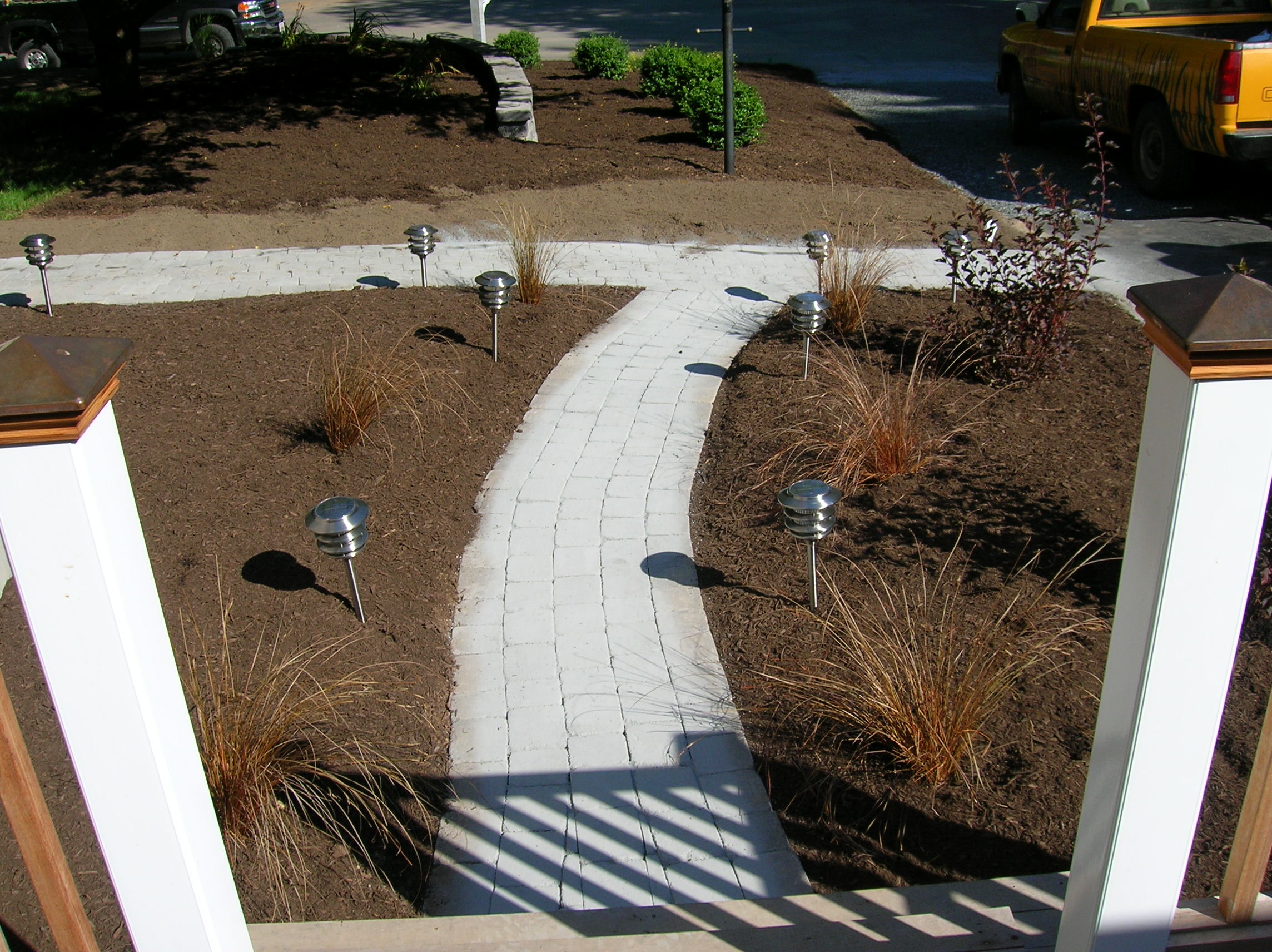 New Construction Walkway And Plantings