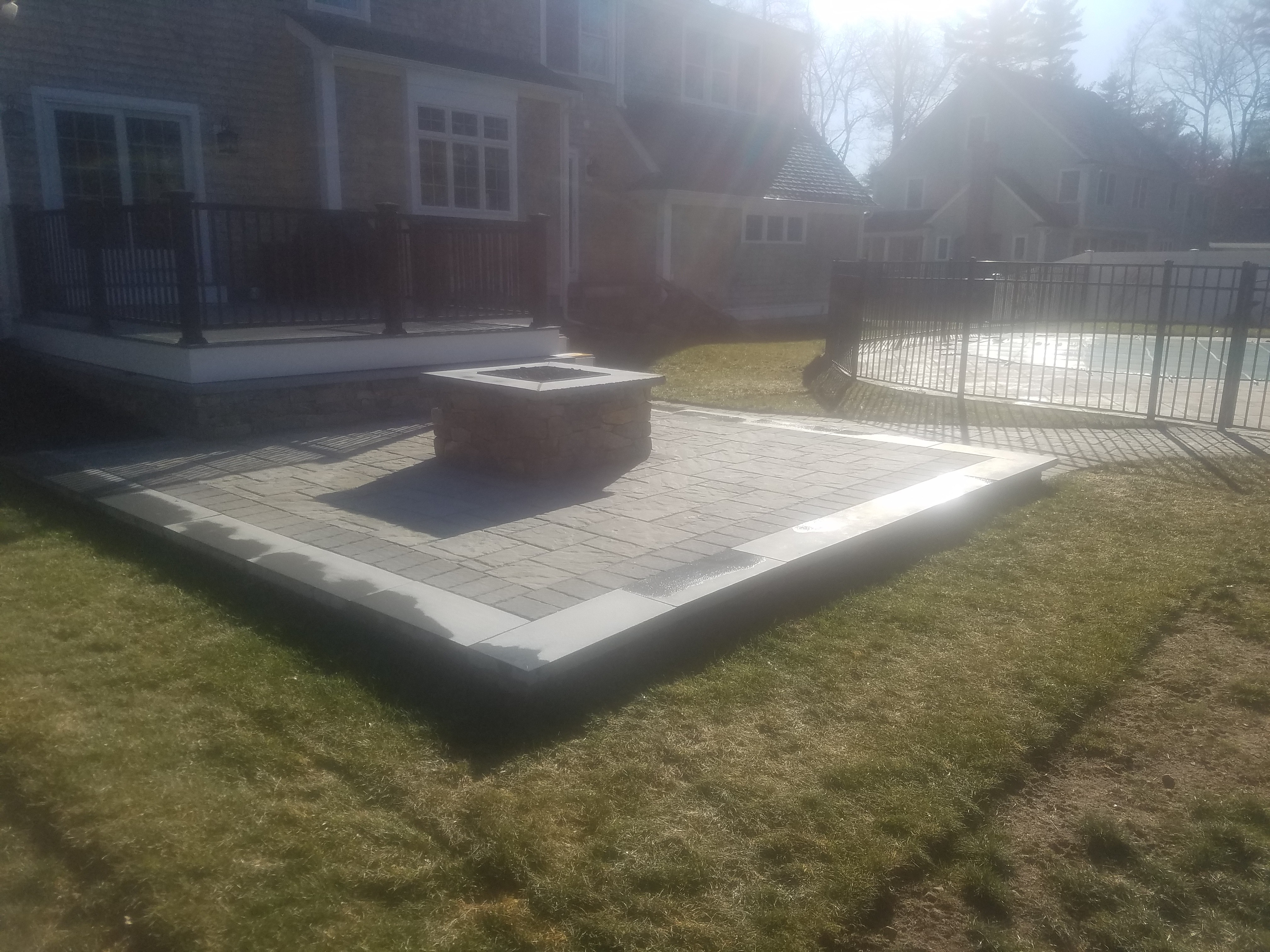 Propane Fire Pit And Raised Patio With Stone Veneer 2