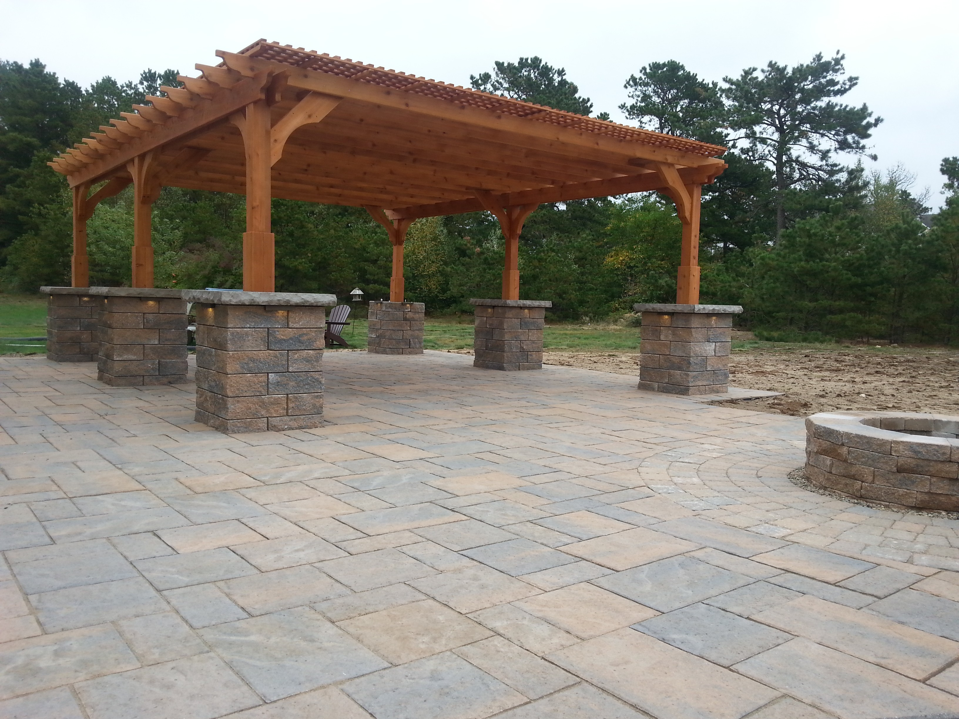 Red Cedar Pergola With Techo Bloc Blu 60 Paver - Plymouth