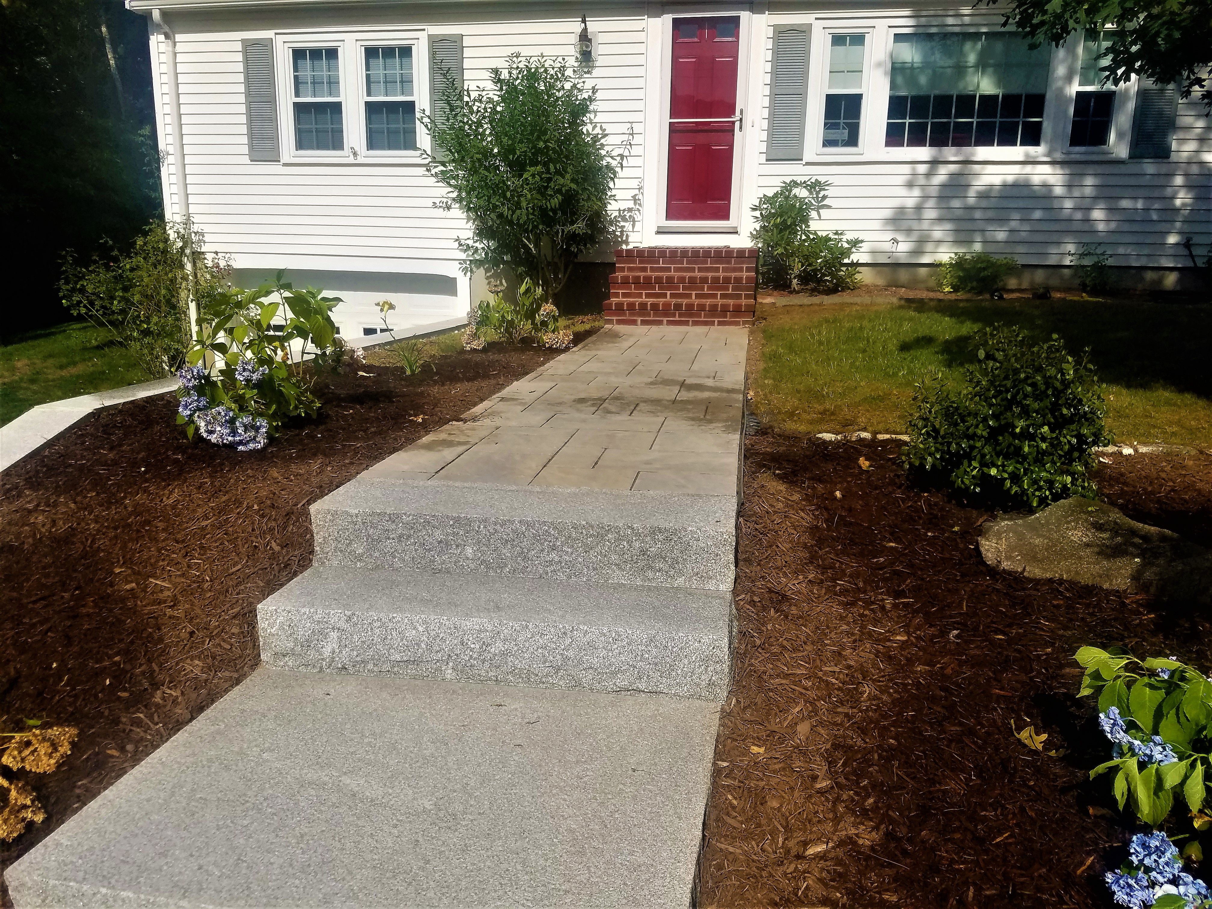Techo Bloc Walkway With New Plantings - Brewster