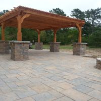 Red Cedar Pergola with Techo Bloc Blu